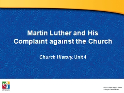 Martin Luther and His Complaint against the Church PowerPoint PPT Presentation