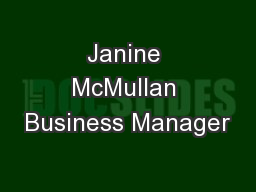Janine McMullan Business Manager