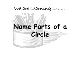 Name Parts of a Circle We are Learning to……