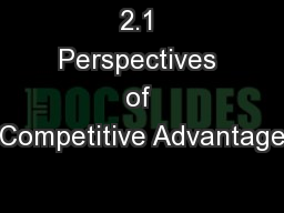 2.1 Perspectives of Competitive Advantage