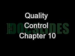 Quality Control Chapter 10