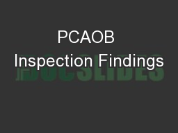 PCAOB Inspection Findings