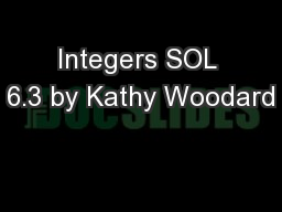Integers SOL 6.3 by Kathy Woodard