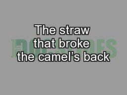 The straw that broke the camel�s back