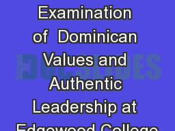 An Examination of  Dominican Values and Authentic Leadership at Edgewood College