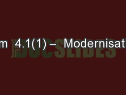 Item  4.1(1) –  Modernisation
