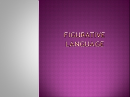 Figurative Language Figurative Language