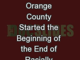 Doss v. Bernal How  Orange County Started the Beginning of the End of Racially Restrictive Covenant