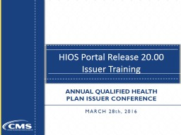 HIOS Portal Release 20.00 Issuer Training