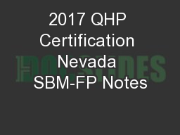 2017 QHP Certification Nevada SBM-FP Notes