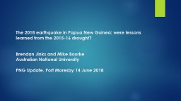 The 2018 earthquake in Papua New Guinea: were lessons learned from the 2015-16 drought?