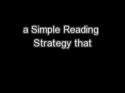 a Simple Reading Strategy that