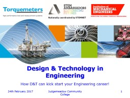 Design & Technology in Engineering