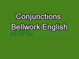 Conjunctions Bellwork English