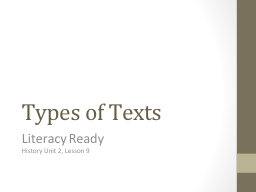 Types of Texts Literacy