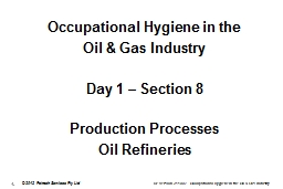 Occupational Hygiene in the