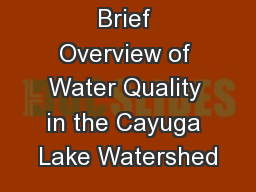 Brief Overview of Water Quality in the Cayuga Lake Watershed