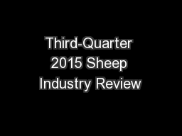 Third-Quarter 2015 Sheep Industry Review