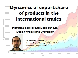 Dynamics of export share of products in the international trades PowerPoint PPT Presentation