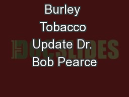 Burley Tobacco Update Dr. Bob Pearce