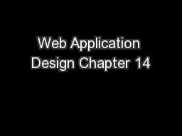 Web Application Design Chapter 14