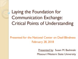 Laying the Foundation for Communication Exchange: