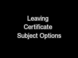Leaving Certificate Subject Options
