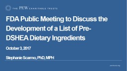 FDA Public Meeting to Discuss the Development of a List of Pre-DSHEA Dietary Ingredients