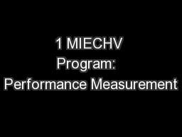 1 MIECHV Program:  Performance Measurement