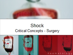 Shock Critical Concepts - Surgery