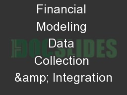 Financial Modeling Data Collection & Integration