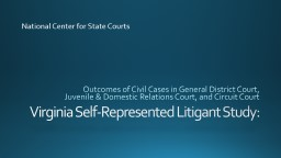 Virginia Self-Represented Litigant Study: