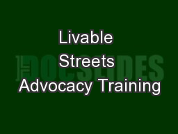 Livable Streets Advocacy Training