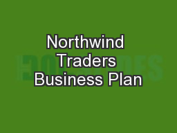 Northwind Traders Business Plan