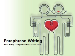 Paraphrase Writing Be different, yet the same