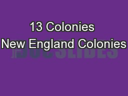 13 Colonies New England Colonies