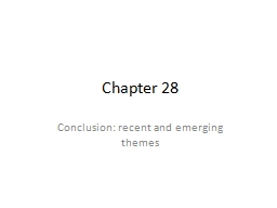 Chapter 28 Conclusion: recent and emerging themes