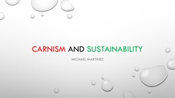 Carnism   and  Sustainability