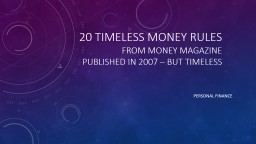 20 Timeless Money Rules from Money Magazine PowerPoint PPT Presentation