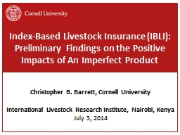 Index-Based Livestock  Insurance (IBLI):