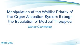 1 Manipulation of the Waitlist Priority of the Organ Allocation System through the Escalation of Me