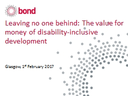 Leaving no one behind: The value for money of disability-inclusive development
