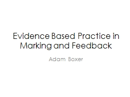 Evidence Based Practice in Marking and Feedback