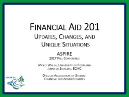 Financial Aid 201 Updates, Changes, and
