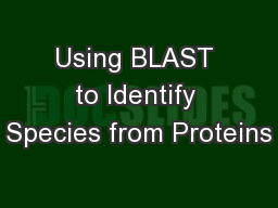Using BLAST to Identify Species from Proteins