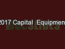 2017 Capital  Equipment