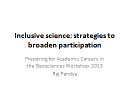 Inclusive science:  strategies