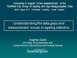 Understanding the data gaps and measurement issues in ageing statistics
