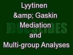Lyytinen  & Gaskin Mediation and Multi-group Analyses PowerPoint PPT Presentation