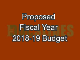 Proposed Fiscal Year 2018-19 Budget